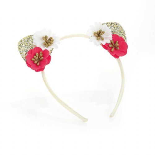 Gold Glitter and Flower Cat Ears Alice Hair Band